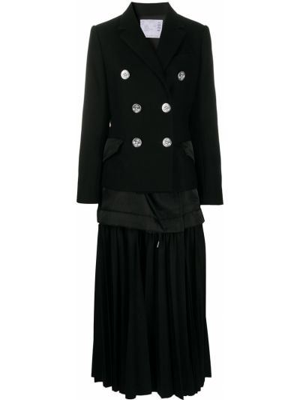 Шерстяное пальто - черное Sacai