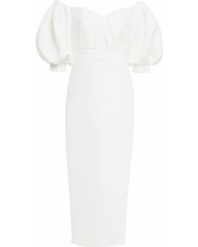Плиссированное платье миди на пуговицах из неопрена Badgley Mischka