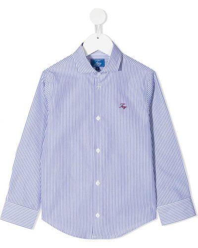 Классическая синяя классическая рубашка с воротником на пуговицах Fay Kids