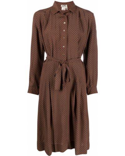 Коричневое шелковое платье макси винтажное Hermès