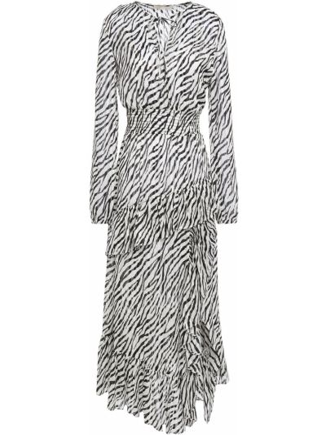 Облегченное асимметричное шифоновое платье миди Maje
