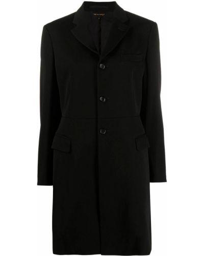 Приталенное шерстяное черное длинное пальто Comme Des Garçons