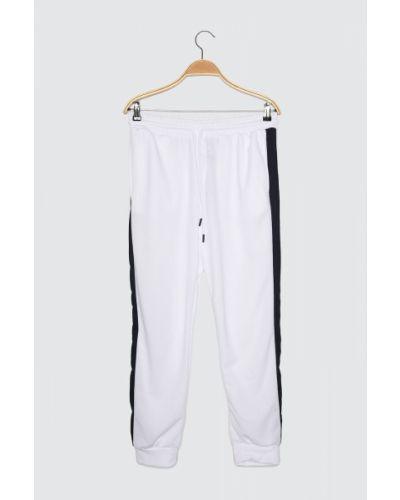 Biały dres w paski Trendyol