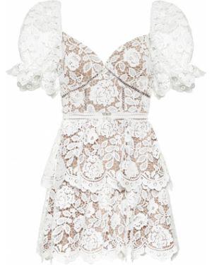 Платье мини с цветочным принтом с кружевными рукавами Self-portrait