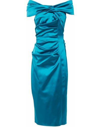 Бирюзовое платье миди с подкладкой с оборками Talbot Runhof