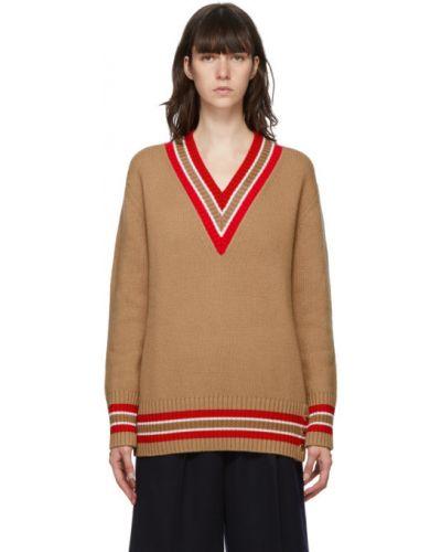 Z rękawami biały sweter z kołnierzem z dekoltem w szpic Burberry