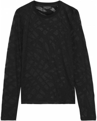 Czarny top bawełniany z printem Rag & Bone