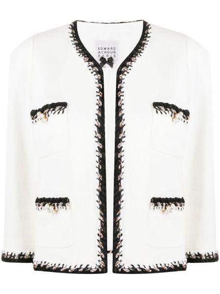 Хлопковый открытый белый пиджак Edward Achour Paris