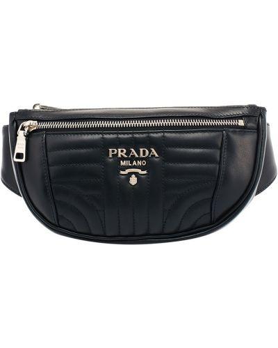 Кожаная сумка поясная черная Prada