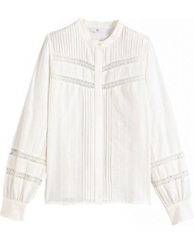 С рукавами кружевная белая блузка Laredoute