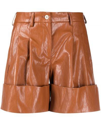 Коричневые хлопковые шорты с отворотом Jejia