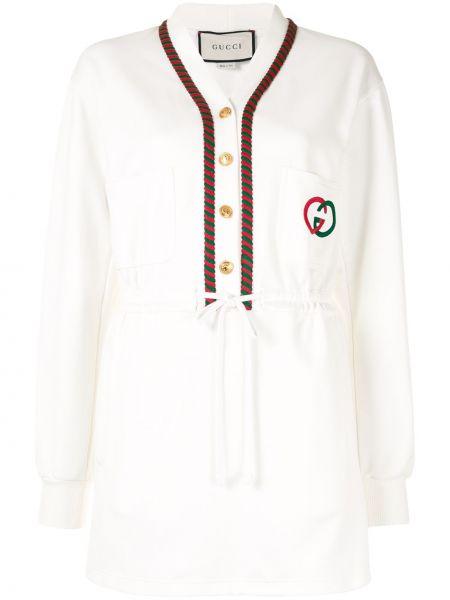 Белое платье с рукавами на пуговицах с манжетами с карманами Gucci Pre-owned