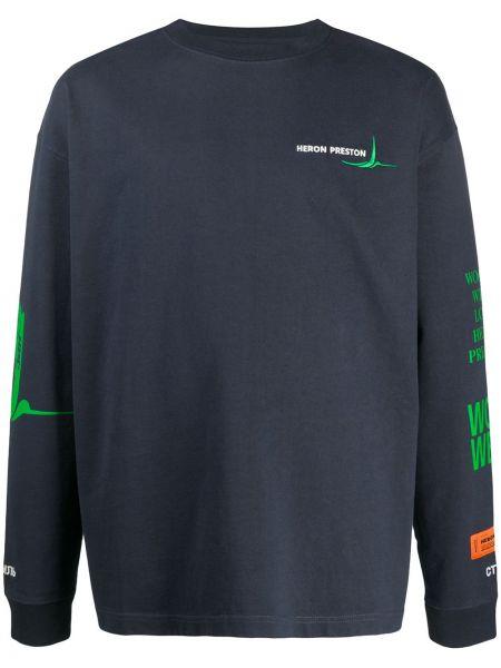 Bawełna z rękawami niebieski prosto koszula Heron Preston