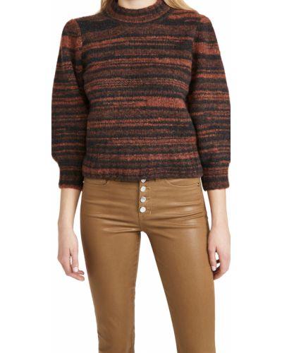 Оранжевый шерстяной пуловер в полоску Veronica Beard