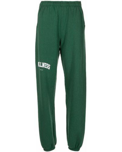 Хлопковые зеленые спортивные брюки с поясом Sporty And Rich