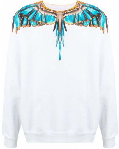 Biała bluza długa z długimi rękawami bawełniana Marcelo Burlon County Of Milan