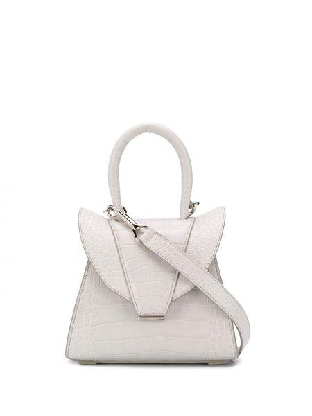 Белая кожаная сумка круглая с тиснением из искусственной кожи Elena Ghisellini