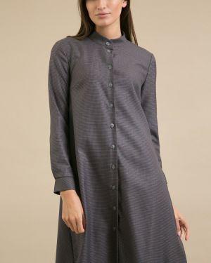 Платье с поясом серое на пуговицах Emka