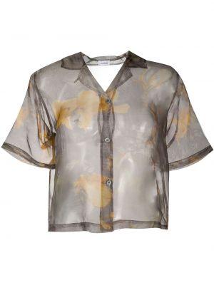 Шелковая рубашка с коротким рукавом с воротником золотая с короткими рукавами Soulland