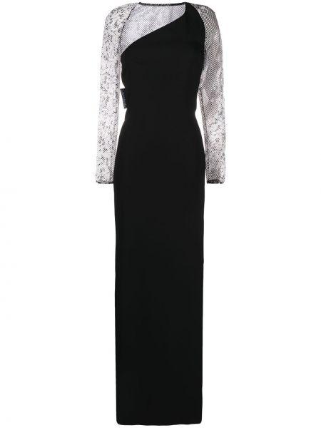 С рукавами черное платье макси с разрезом Just Cavalli