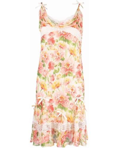 Biała sukienka z printem Christian Dior
