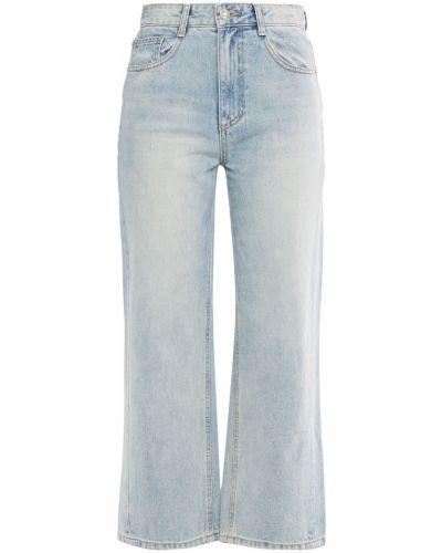 Niebieskie jeansy bawełniane z paskiem Sjyp