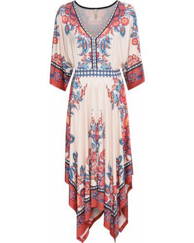 Платье с поясом в стиле бохо бежевое Bonprix