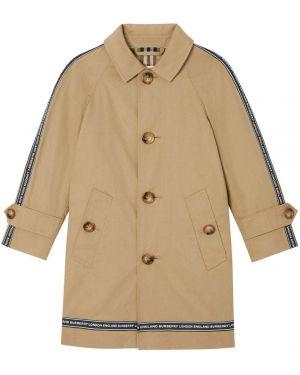 Beżowy płaszcz bawełniany z printem Burberry