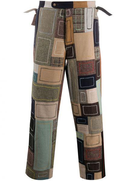 Brązowe spodnie wełniane z haftem Bode