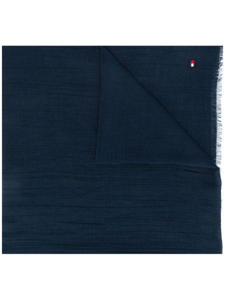 Хлопковый синий шарф с бахромой Tommy Hilfiger