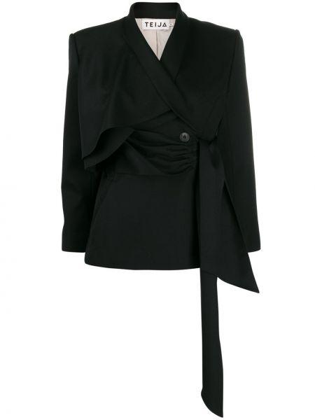 Черный короткая куртка с запахом Teija