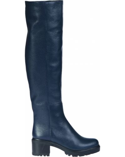 Ботфорты на каблуке кожаные синий Loriblu