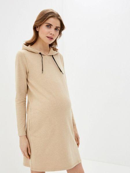 Платье для беременных бежевое весеннее Mama.licious