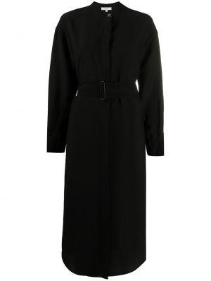 С рукавами черное платье миди с поясом Vince.