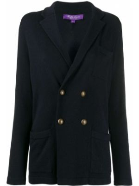 С рукавами синяя куртка двубортная Ralph Lauren Collection
