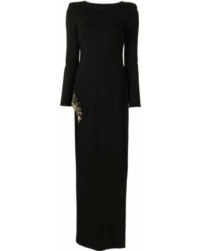 С рукавами черное платье макси с разрезом Haney