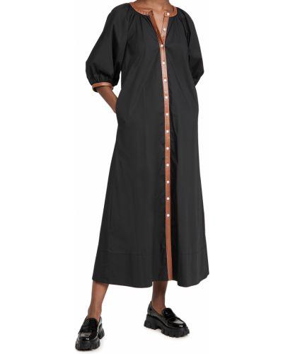 Кожаное черное платье с декольте Staud