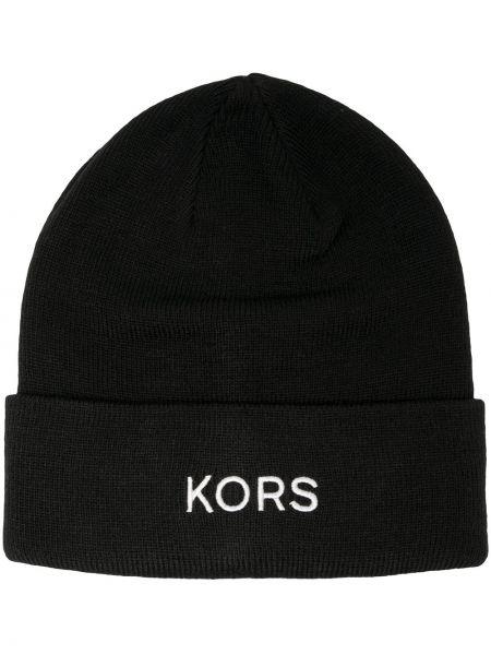 Трикотажная черная шапка бини с отворотом Michael Kors