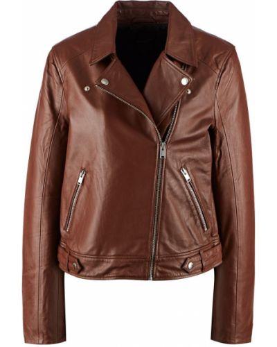 Кожаная коричневая кожаная куртка Selected