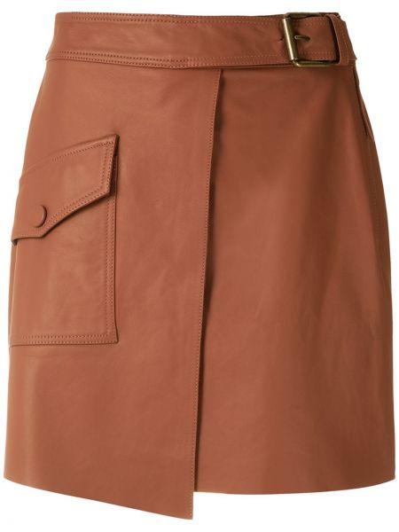 Коричневые плиссированные кожаные юбка-шорты Nk