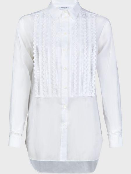 Хлопковая белая блузка на пуговицах Alberta Ferretti