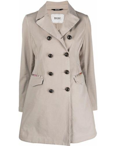 Бежевое длинное пальто двубортное с карманами Bazar Deluxe