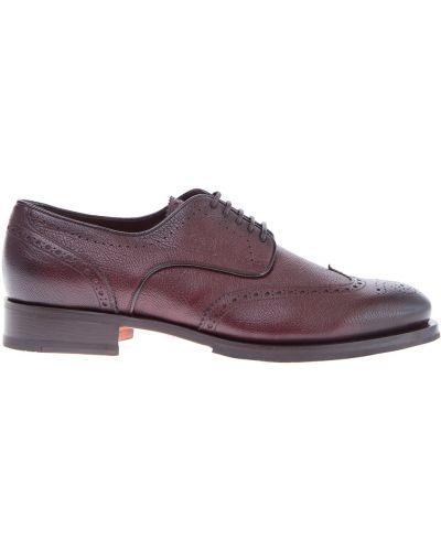 Кожаные ботинки броги с узором Santoni