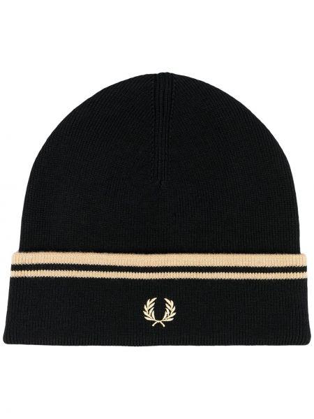 Bawełna bawełna czarny czapka zimowa z haftem Fred Perry
