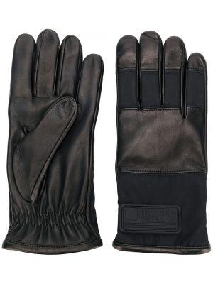 Skórzany rękawiczki elastyczny czarny Prada