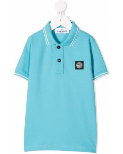 Niebieska koszula krótki rękaw bawełniana Stone Island Junior
