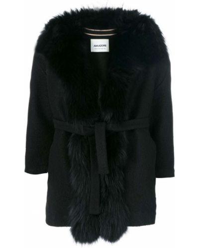 Черное шерстяное пальто с поясом Ava Adore