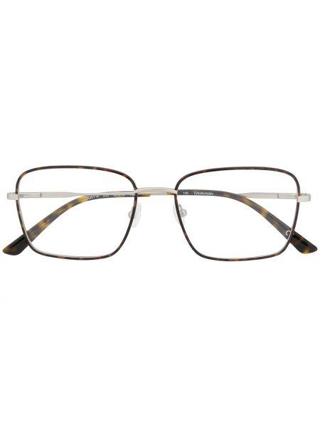 Srebro oprawka do okularów metal przeoczenie Calvin Klein