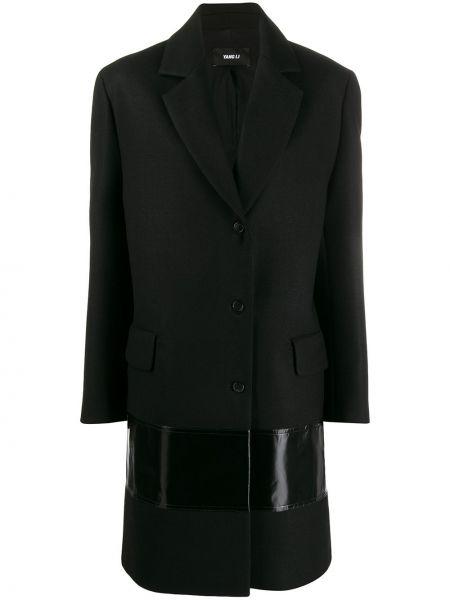 Однобортное шерстяное черное длинное пальто Yang Li