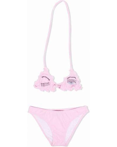 Różowy bikini z haftem Chiara Ferragni Kids